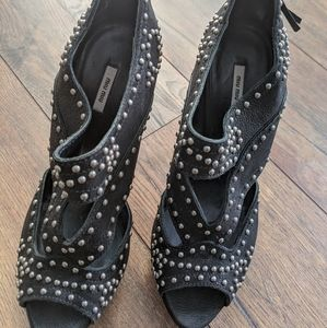 Miu Miu black studded heels worn three times